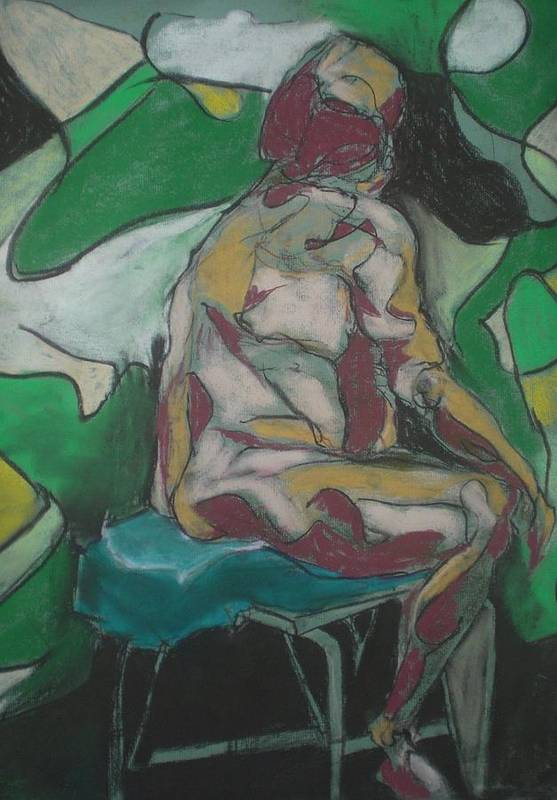 Seated Nude Art Print featuring the painting Seated Nude by Aleksandra Buha