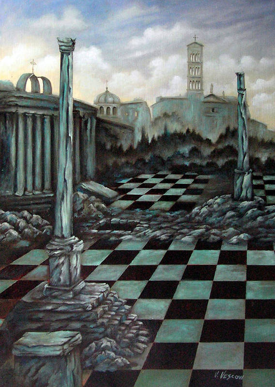 Surreal Art Print featuring the painting Sepulchre by Valerie Vescovi