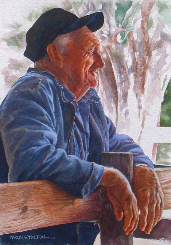 Rancher Art Print featuring the painting Sheepman by Marion Hylton