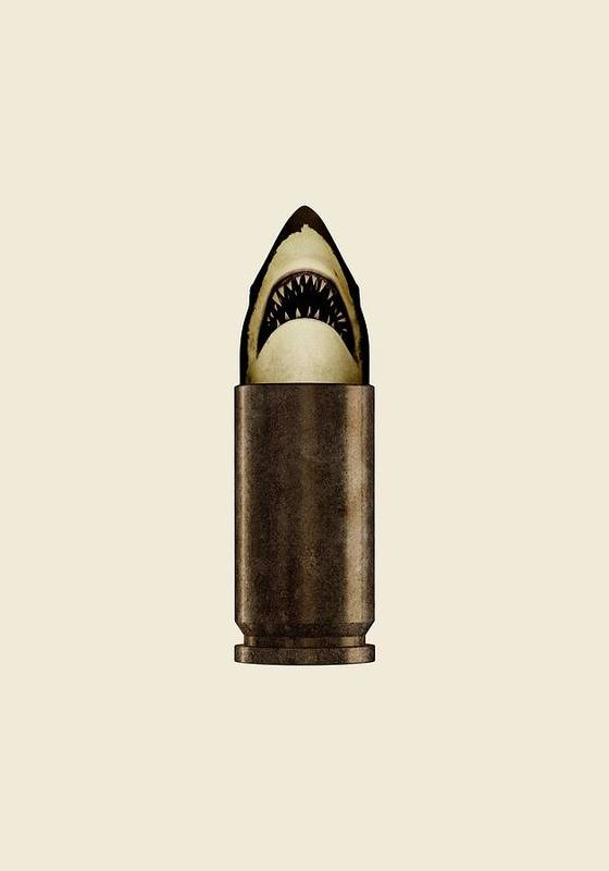 Bullet Art Print featuring the digital art Shell Shark by Nicholas Ely
