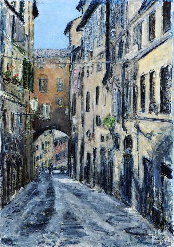 Cityscape Siena Italy Archway Street Houses Art Print featuring the painting Siena Porta by Joan De Bot