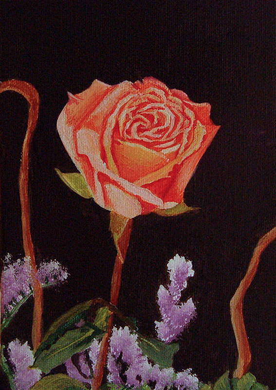 Rose Art Print featuring the painting Single Rose by Quwatha Valentine