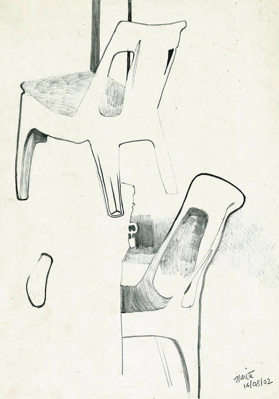 Makarand Joshi Art Print featuring the drawing Sketches Of Plastic Chairs 2 by Makarand Joshi
