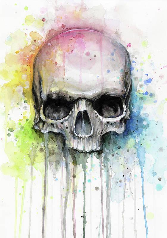 Skull Art Print featuring the painting Skull Watercolor Rainbow by Olga Shvartsur