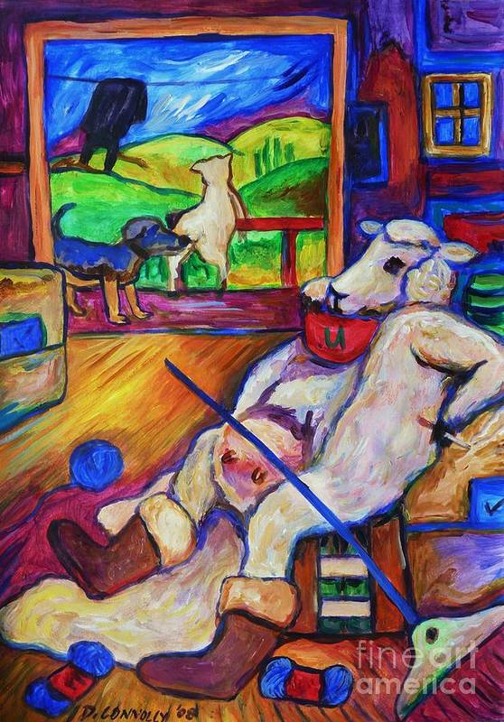 Sheep Art Print featuring the painting Smoko At The Sheep Shearing Shed by Dianne Connolly