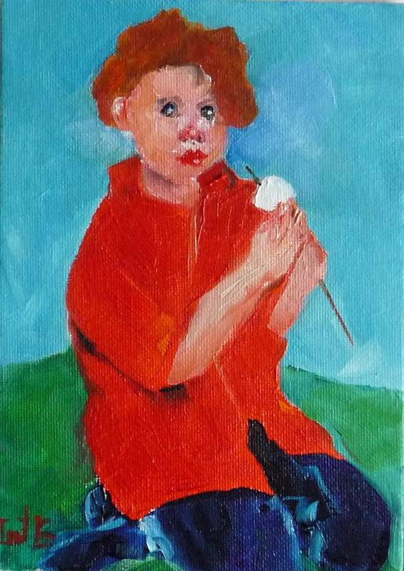 Figurative Art Print featuring the painting S'mores Eating by Irit Bourla