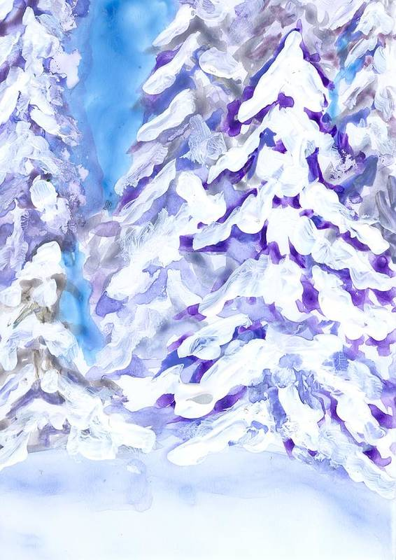Landscape Art Print featuring the painting Snow Laden Trees by Wanda Pepin