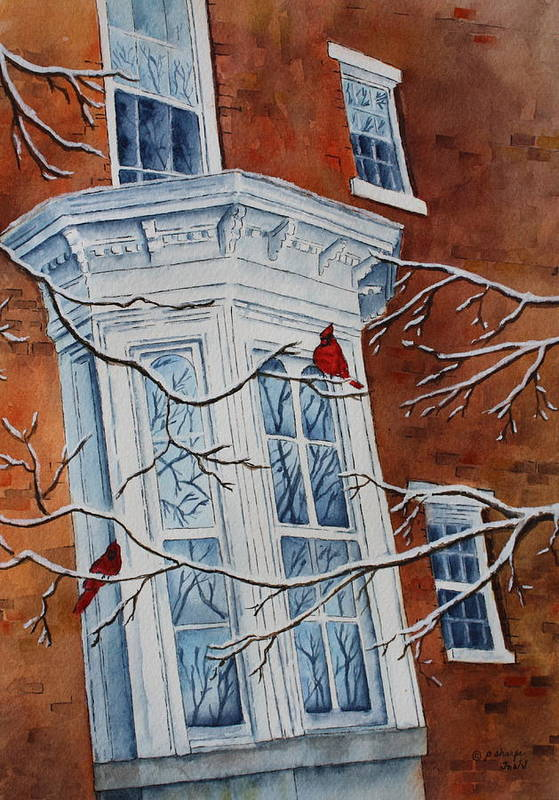 Architectural Landscape Art Print featuring the painting Snowy Bay by Patsy Sharpe