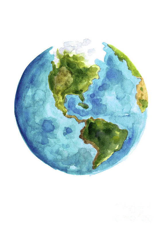 Planet Earth, South America Illustration, Watercolor World Map Painting on map of antarctica globe, map of pacific ocean globe, map of world globe,