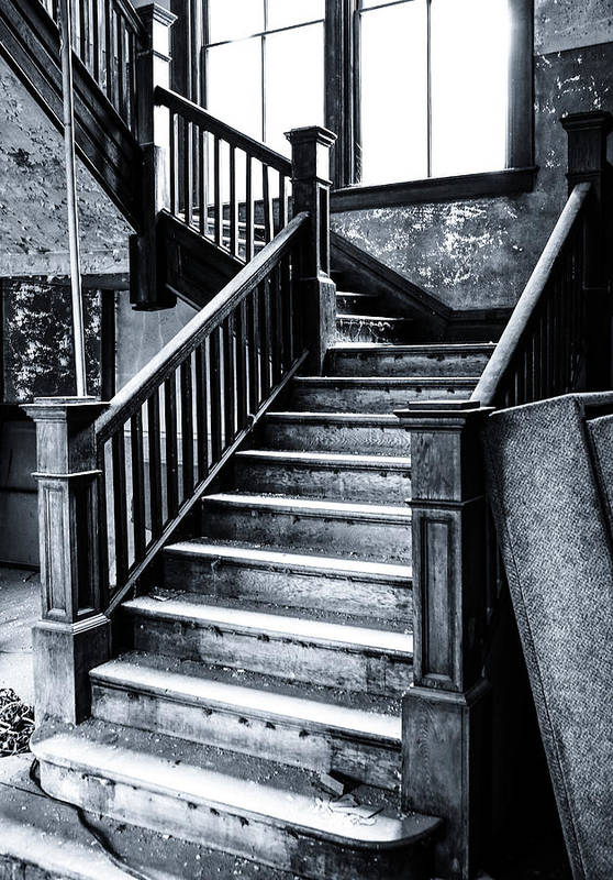 Haunted Art Print featuring the photograph Spooky Grand Staircase by SC Shank