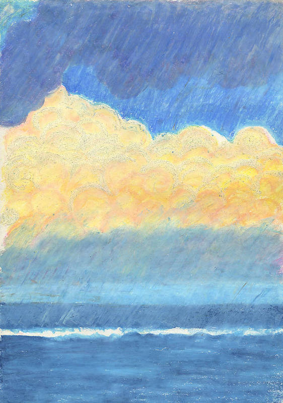 Oceanscape Art Print featuring the drawing Storm Over Virginia Beach by Harriet Emerson