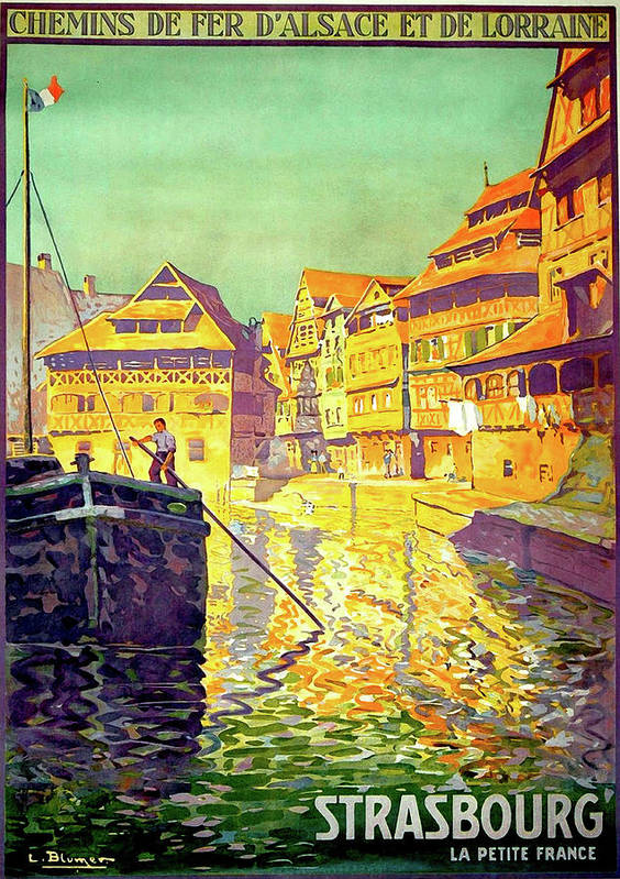 Strasbourg Art Print featuring the painting Strasbourg, City, France, Travel Poster by Long Shot