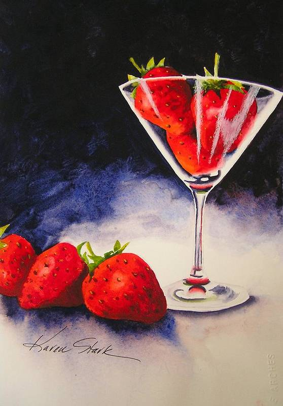 Strawberry Art Print featuring the painting Strawberrytini by Karen Stark