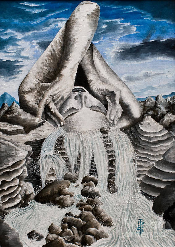 Landscape Portrait Woman Mountains Rocks Stream Water Art Print featuring the painting Streams Of Thought by Pauline Sharp