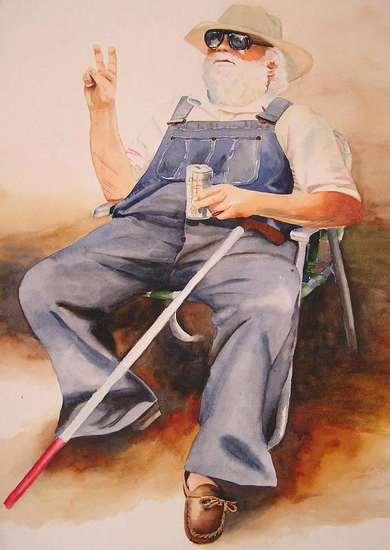 Blind Man Art Print featuring the painting Sun Worshipper by Karen Stark