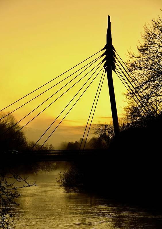 Cable Bridge Art Print featuring the photograph Sunny Bridge by Phil Child