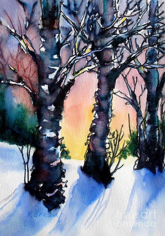 Paintings Art Print featuring the painting Sunset Birches On The Rise by Kathy Braud