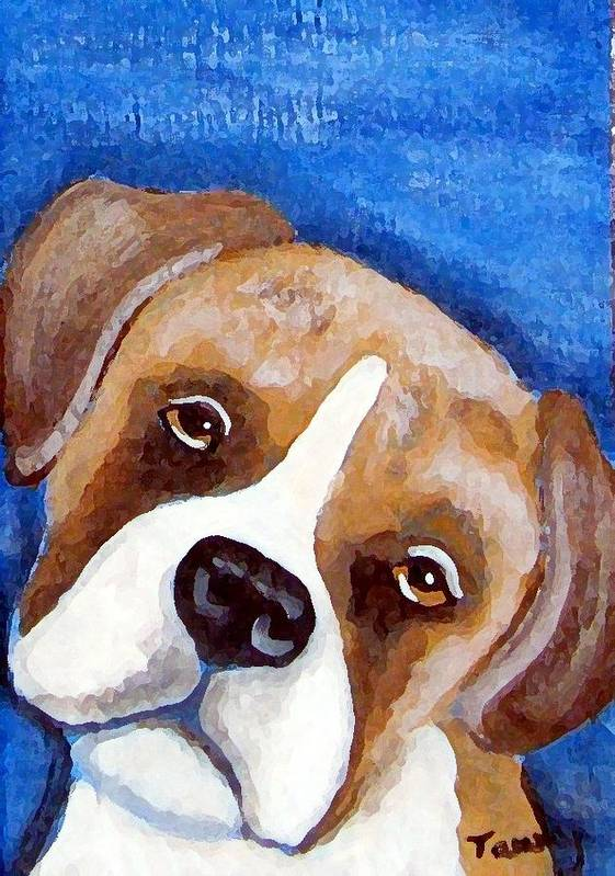 Boxer Art Print featuring the painting Sweet Boxer Portrait by Tammy Brown