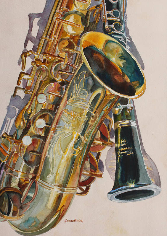 Saxophone Art Print featuring the painting Taking A Shine To Each Other by Jenny Armitage