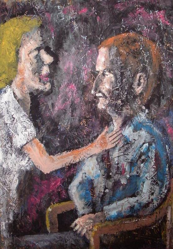 Wife And Man Art Print featuring the painting The Adjustment by Dick Eustice