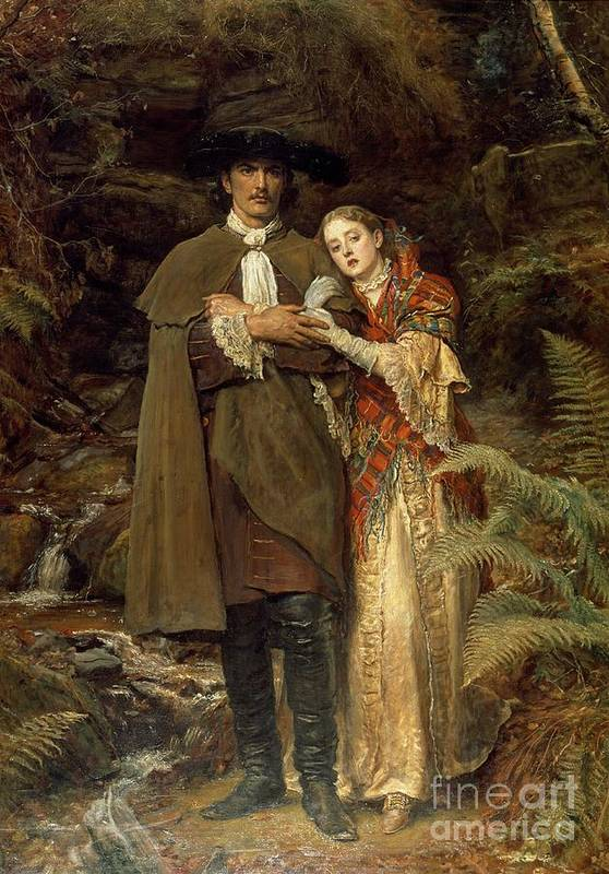The Art Print featuring the painting The Bride Of Lammermoor by Sir John Everett Millais