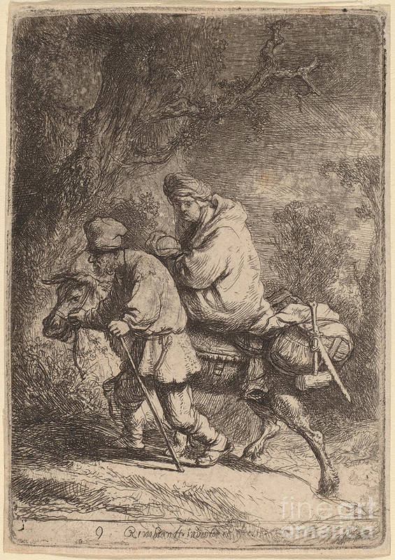 Art Print featuring the drawing The Flight Into Egypt: Small by Rembrandt Van Rijn