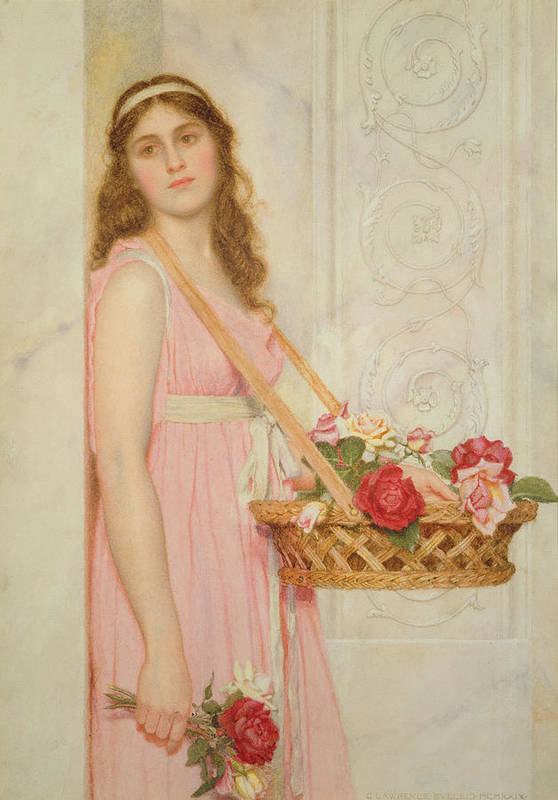 The Art Print featuring the painting The Flower Seller by George Lawrence Bulleid