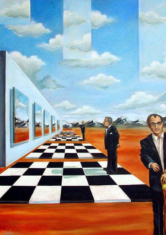Surreal Art Print featuring the painting The Gallery by Valerie Vescovi
