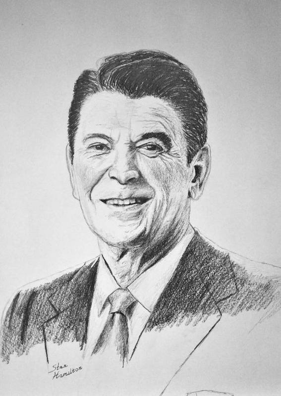 Pencil Art Print featuring the drawing The Gipper by Stan Hamilton