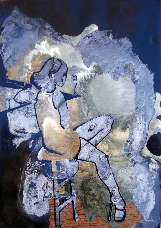 Girl Blue Green Gols Stripper Thoughtful Print featuring the painting the Graduate by Amy Bernays