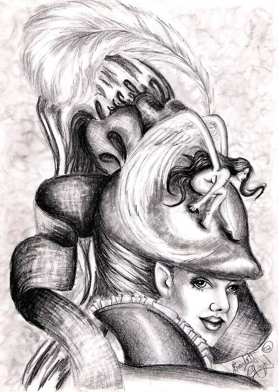 Fantasy Art Print featuring the drawing The Hat by Scarlett Royal