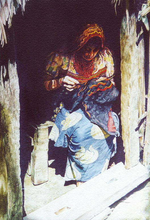 Indian Art Print featuring the painting The Mola Maker by Marion Hylton