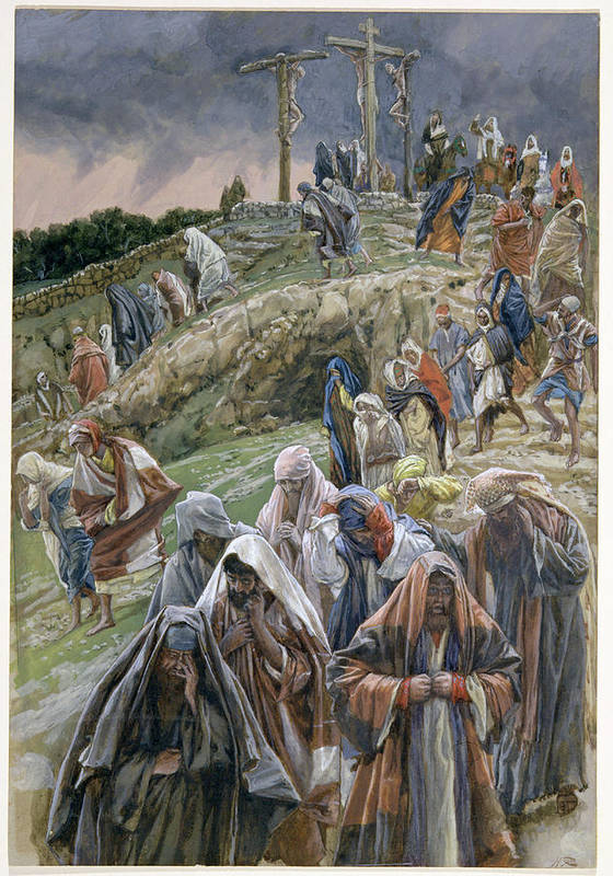 Art Print featuring the painting The People Beholding The Things That Were Done Smote Their Breasts by Tissot