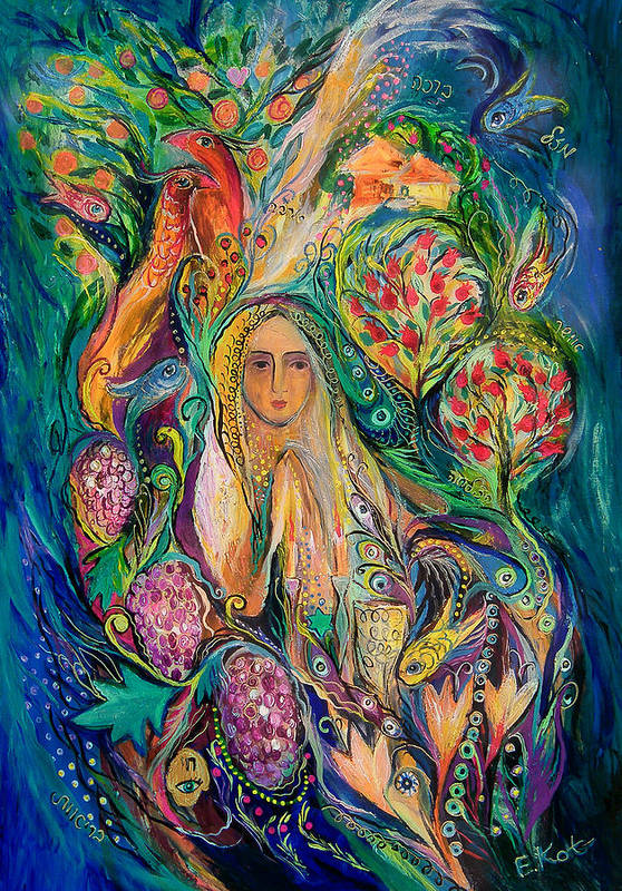 Original Art Print featuring the painting The Queen Of Shabbat by Elena Kotliarker