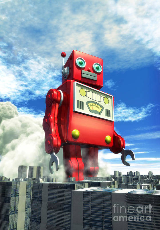 Robot Art Print featuring the digital art The Red Tin Robot And The City by Luca Oleastri