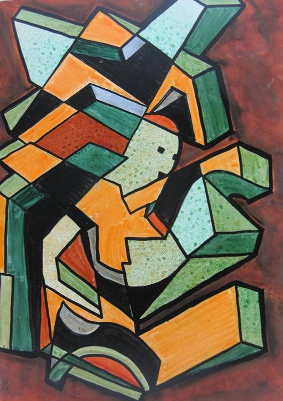 Cubisim Art Print featuring the painting The Runner by David Raderstorf