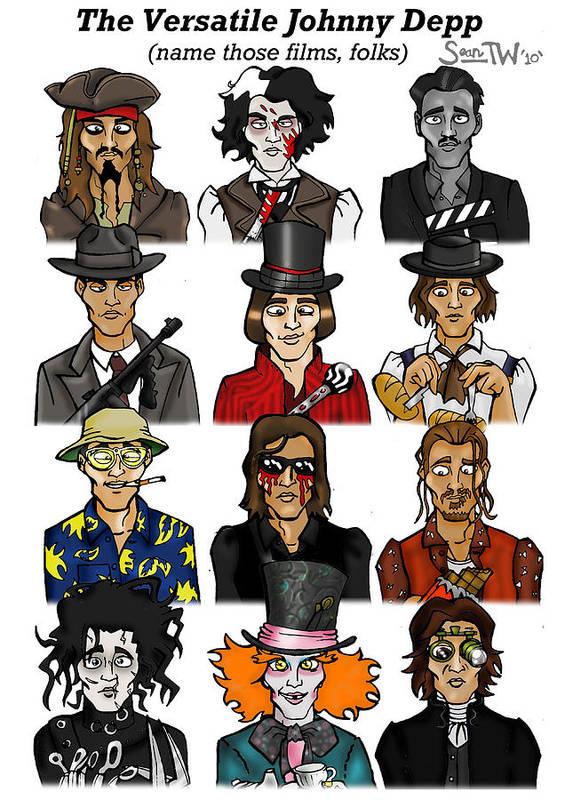 Newspaper Cartoons Alice In Wonderland Art Print featuring the digital art The Versatile Johnny Depp by Sean Williamson