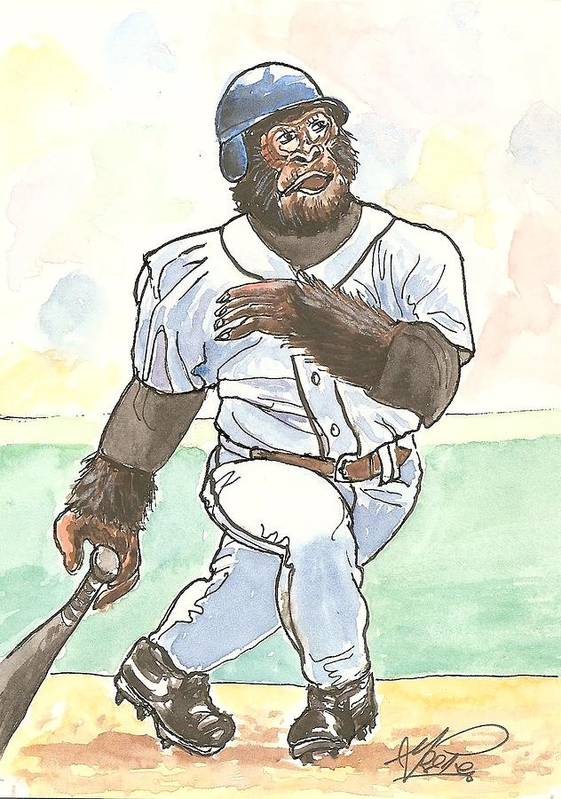 Baseball Art Print featuring the painting There It Is by George I Perez