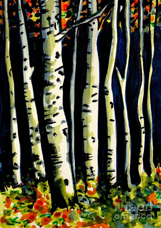 Trees Art Print featuring the painting Through The Midnight Birch Trees by Elizabeth Robinette Tyndall