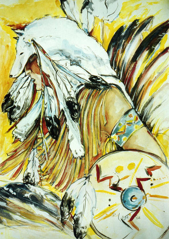 American Indian Dancer Art Print featuring the mixed media Trance by Regine Legler
