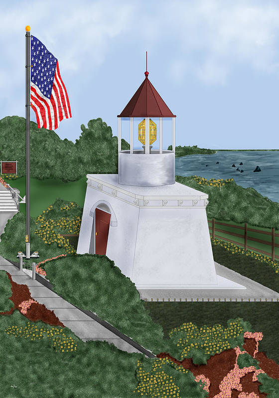 Trinidad Memorial Art Print featuring the painting Trinidad Memorial Lighthouse by Anne Norskog