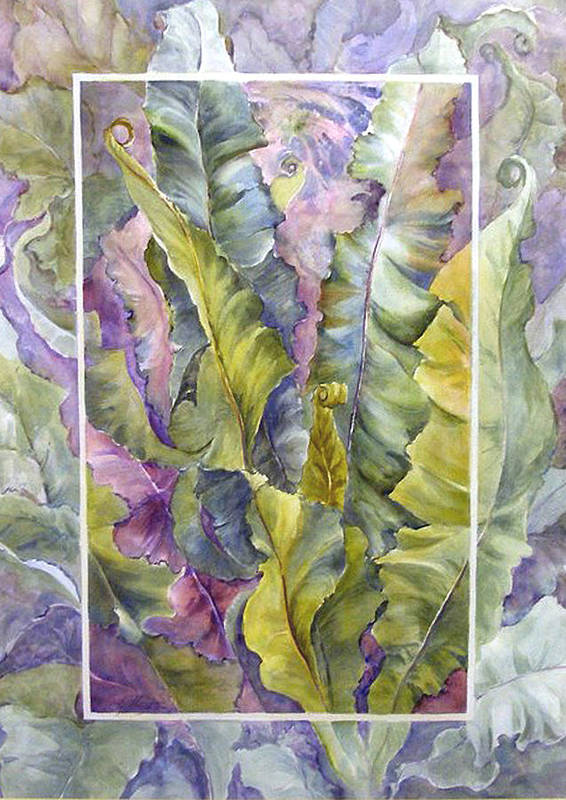 Ferns;floral; Art Print featuring the painting Turns Of Ferns by Lois Mountz