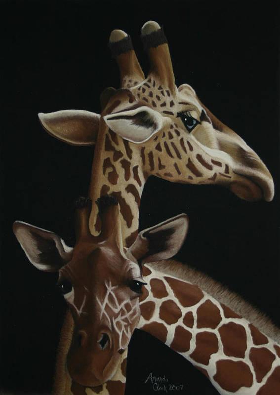Giraffe Art Print featuring the pastel Twiga by Amanda Clark