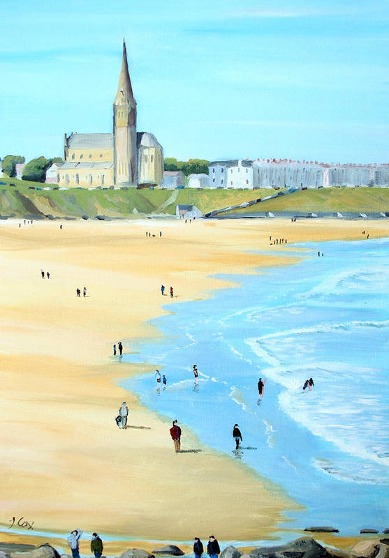 Seascape. Beach. Church. England. Uk Art Print featuring the painting Tynemouth Beach by John Cox