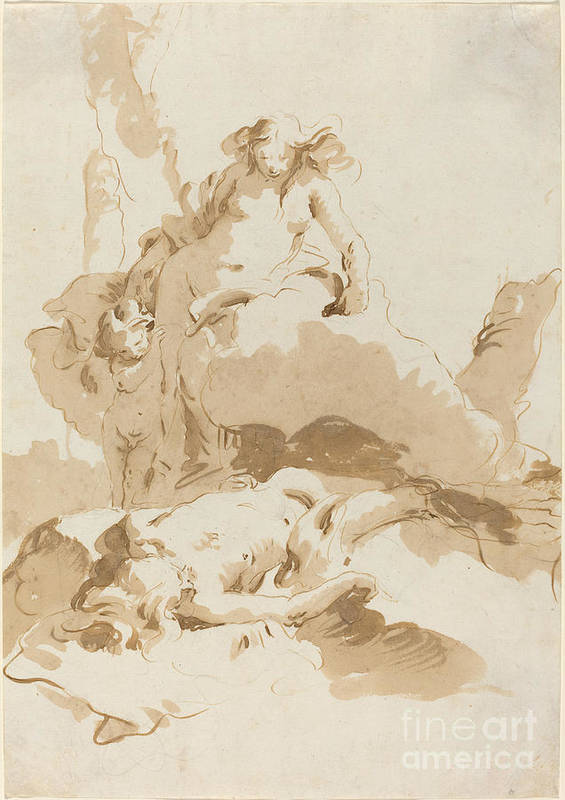 Art Print featuring the drawing Venus And Cupid Discovering The Body Of Adonis by Giovanni Battista Tiepolo