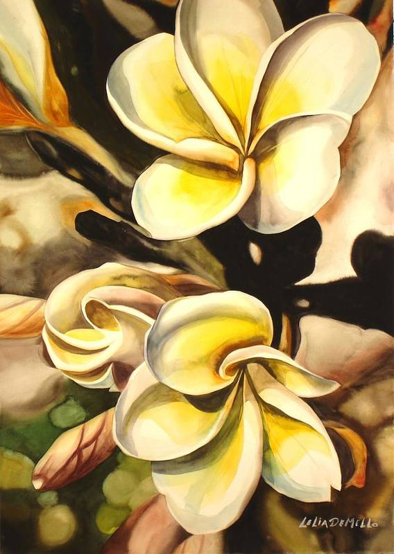 Floral Art Print featuring the painting Verticle Plumeria by Lelia DeMello
