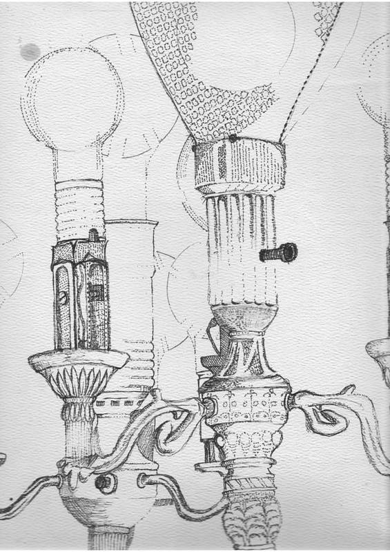 Drawing Print featuring the drawing Victorian Lamp Drawing by Ron Hayes