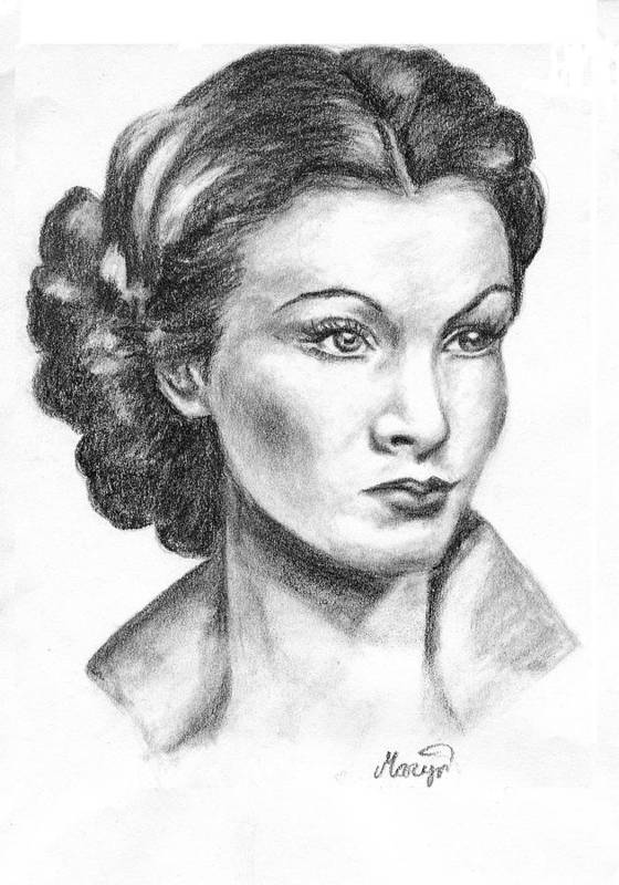 Vivien Leigh Art Print featuring the drawing Vivien Leigh by Maryn Crawford