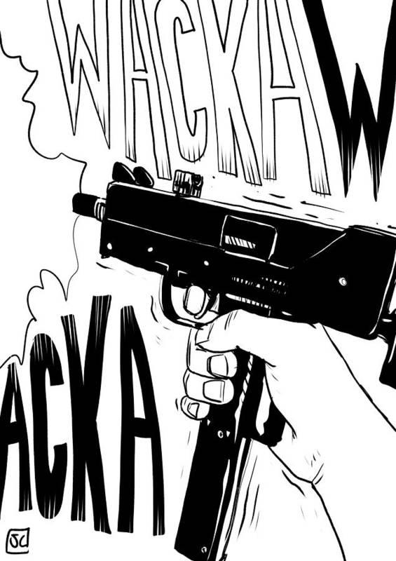 Gun Machine Art Print featuring the drawing Wacka Wacka by Giuseppe Cristiano