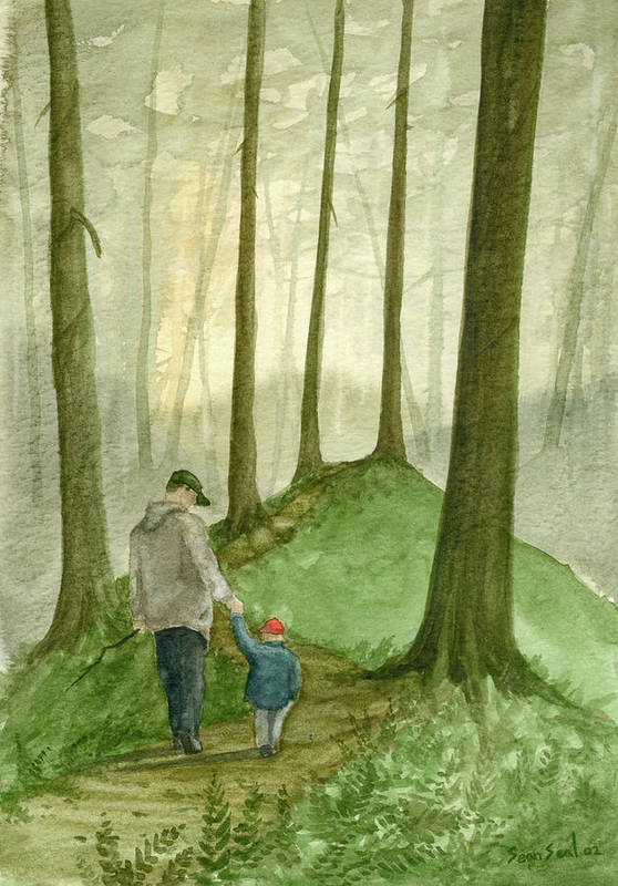 Father Art Print featuring the painting Walk In The Woods by Sean Seal